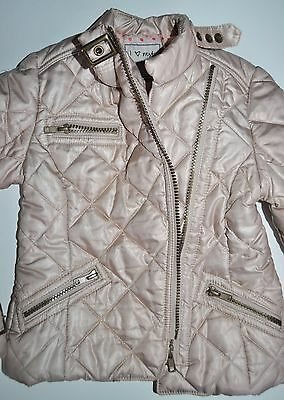 Next Girl Biker Jacket Coat 5-6 Years Eur 116Cm Beige Gold Winter