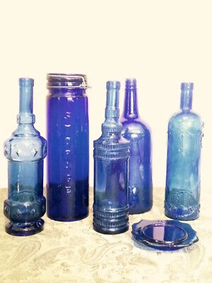 All Deep Blue Beautiful Antique Cobalt Bottle Lot. Detail. 5,1 Cup/cand Signed