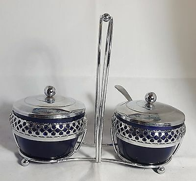 Pair of Beautiful Cobalt Blue Glass Pickle Bowls with Stand