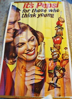 Original 1962 It's Pepsi For Those Who Think Young Paper Poster
