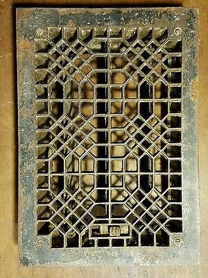 "Ornate Cast Iron Heating Grate Register Vent w/Louvers Fits 8  x 12"" Hole B"