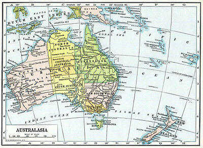AUSTRALIA Australasia Antique Map Geography 2 Pages 1920s Hammond