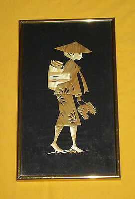 Vintage Oriental SILK EMBROIDERED PICTURE BAMBOO Asian Female Textile Art Frame