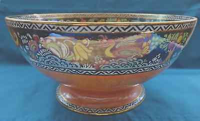 Newhall Boumier Ware Lustre Ware Bowl Peacock pattern signed Lucien Boullemier