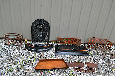 Cast Iron Victorian Fireplace Mantel Surround Summer Cover Grate parts lot
