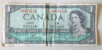 1954 Canadian One Dollar - Bank Of Canada - $1 Note  Tf6876110