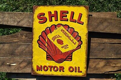 Shell Motor Oil Can Tin Metal Sign - Shell Company - Gas - Gasoline - Retro