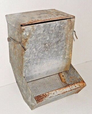 Vintage Galvanized Steel Chicken / Peep Feeders (Great Repurpous Wall Planters)