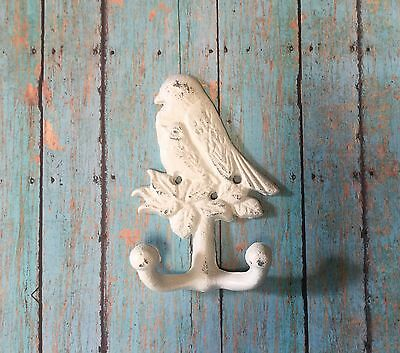 Cast Iron Double Bird Towel Hook, Hat Rack, Coat Hook GARDEN Kitchen Ivory