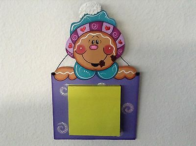 Christmas Handmade Country Décor Wood Gingerbread Man Sticky Notes Dispenser
