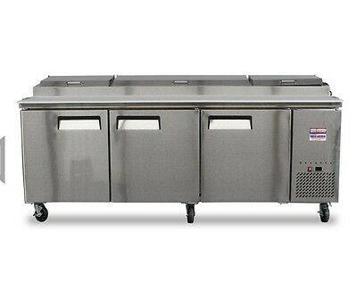 """NEW PIZZA PREP TABLE REFRIGERATED 96"""" 8' 3 DOOR 26 Cu.ft 93"""" FREE SHIPPING !"""