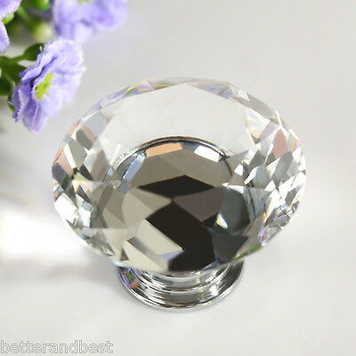 8X40MM Clear Crystal Glass Door Knob Handle Drawer Cabinet Cupboard Furniture US