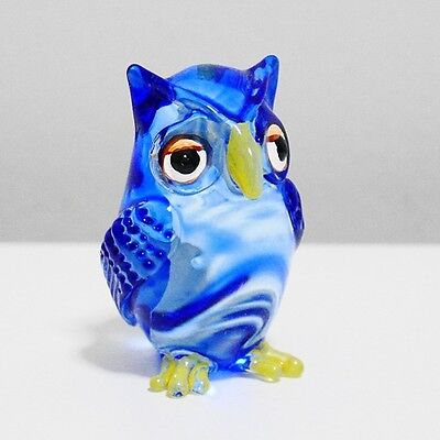 Blue Owl Bird Figurine Animal Hand Blown Glass Home Decorate Collectible Gift 1
