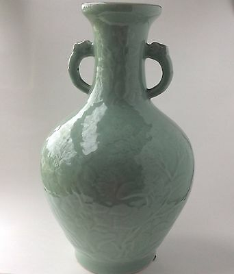 "Chinese Celadon Two Handled Ceramic Vase 16"" Pale Green Porcelain Floral"