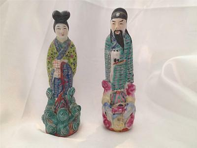 Vintage Hand Painted Man and Woman Asian Figurines