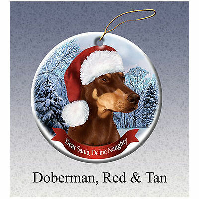 Doberman Pinscher Red Howliday Porcelain China Dog Christmas Ornament