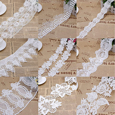 2 Yards Vintage Embroidered Lace Edge Trim Ribbon Crochet Applique Sewing Craft