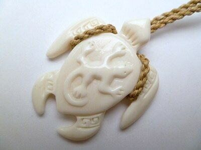 Hawaiian Maori Carved Buffalo Bone Honu Sea Turtle Gecko Necklace Pendant New