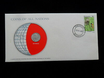Coins All Nations First Day Issue Stamp COA World Unc Money ~ Botswana ✪