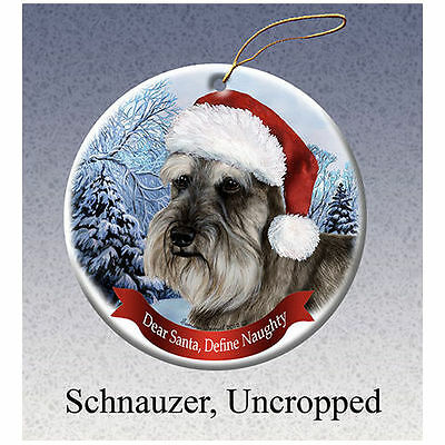 Schnauzer Uncropped Howliday Porcelain China Dog Christmas Ornament