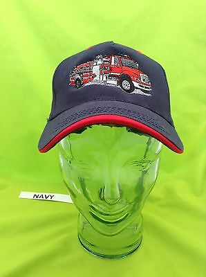 Embroidered Fire Department Truck Engine Navy & Red Cap Hat