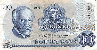 Norway  10 Kroner  1975   P 36b Series AD  circulated Banknote E22S