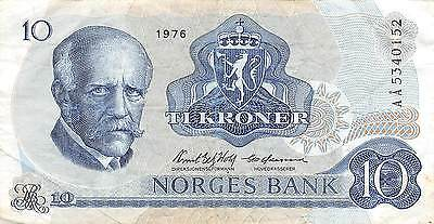 Norway  10 Kroner  1976   P 36b Series AA  circulated Banknote E22S