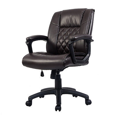 Ergonomic Mid-Back Executive Computer Desk Task Office Chair PU Leather Brown