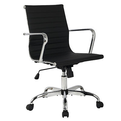Modern Ergonomic Mid Back Office Chair PU Leather Executive Computer Desk New