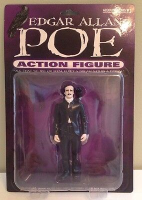 """Edgar Allan Poe with Raven 5"""" Action Figure 2004 Accoutrements Original Release"""