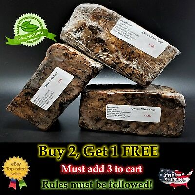 1 lb Raw African Black Soap 100% Natural Organic Virgin Unscented from Ghana