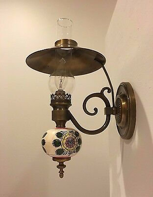 Beautiful Vintage ceramic hand painted wall sconces lamps w glass chimney shades