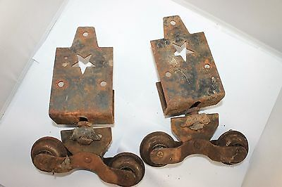 Vintage Pair of Barn Door Hanger Rollers With Star Cut out Primitive Decor Farm