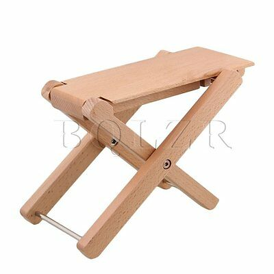 BQLZR Foldable Wood Color Solid Wood 4-Level Height Guitar Pedal Foot Rest
