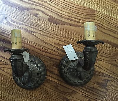 NWT Artisans Made In USA 2 Wall Sconces Antiqued Brass Wall Lighting