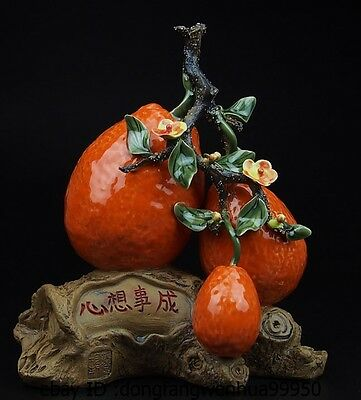 Chinese Pottery Wucai Porcelain Home Display Orange Fruit Art Decoration Statue