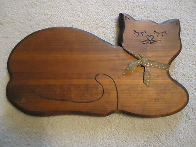 """Stained Wooden Plaque in Shape of Cat. 14.25"""" X 8"""""""
