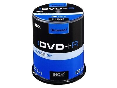 Pack de 100 DVD+R 4.7 GB 16x Speed Intenso