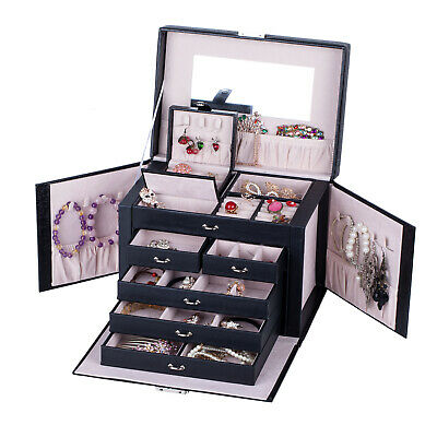 Large Jewellery Storage Boxes Girls Rings Lock Organiser Faux Leather Case Gifts