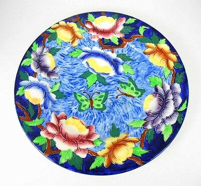 Maling Butterfly Floral Lustre Cobalt Blue Charger Plate Made In England