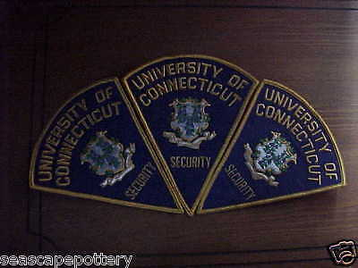 Collectible Vintage University of Connecticut Security shoulder Patches SET of 3