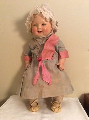 Antique Baby Doll Large Linen Cotton DRESS 1900's