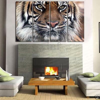 4pcs Bengal Tiger Oil Canvas Print Wall Art Painting Picture Home Decor Unframed
