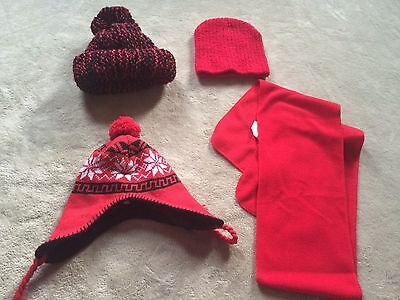 Lot of 4 RED Girls hats and scarf  - one size