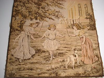 Square Vtg French Victorian Tapestry~Young Girls Jumping Rope~Beautiful~Vgc