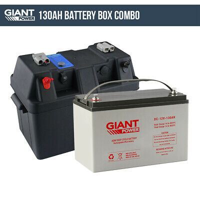 130AH 12V Deep Cycle AGM Battery Box Kit 12 Volt Power Kit for Camping
