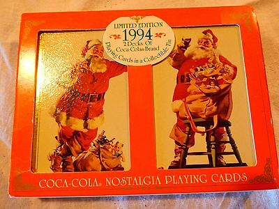 Limited Edition 1994 Coca Cola Santa Playing Cards 2 Decks New