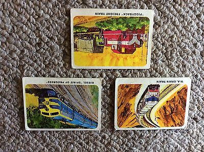 Weet-bix Collector Cards 'The Iron Horses' 1968 series Nos. 11, 15, 16 trains