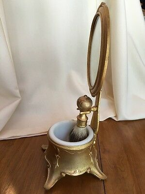 Victorian Ornate Shaving Mug & Stand With Mirror 1800's Art Nouveau Gilded Gold