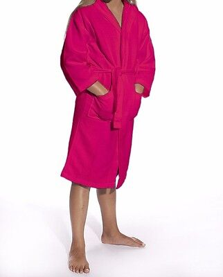 KIDS Hooded Waffle Bathrobe, Spa, Party, Pool, Great Gift! Fuchsia NEW
